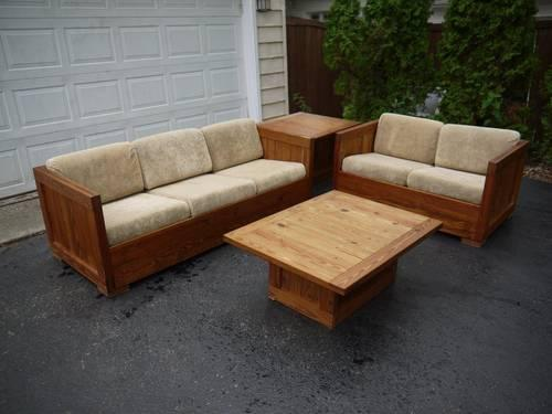 this end up solid wood living room set couch loveseat two tables for sale in gages lake
