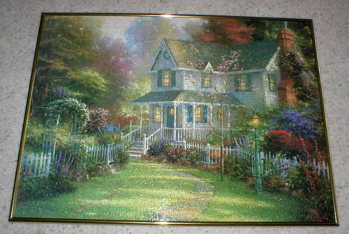 thomas kinkade puzzle art framed victorian garden ii for sale in