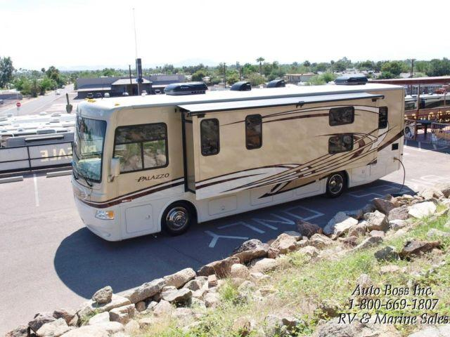 Thor palazzo 33 3 class a diesel pusher rv w wall slide for Used diesel motor homes