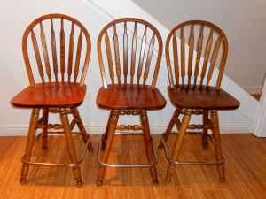 Three Oak Bar Stools - $65 (Asbury/Dubuque)