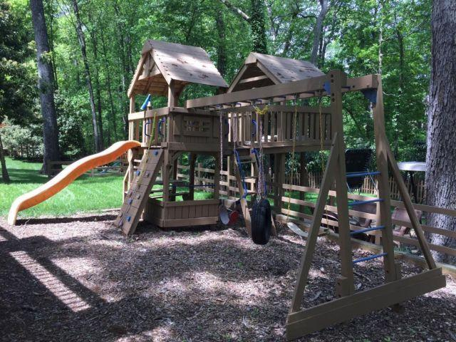 Three-piece Wooden Jungle Gym