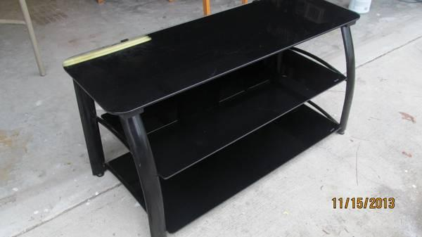 Three Tier Black Tempered Glass Tv Stand For Sale In Homosassa