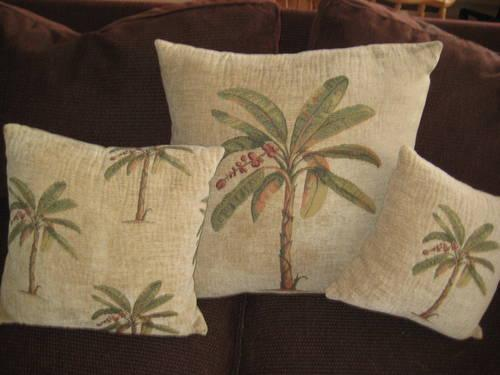Throw Pillows Set Of 3 Coordinated With Palm Tree Design