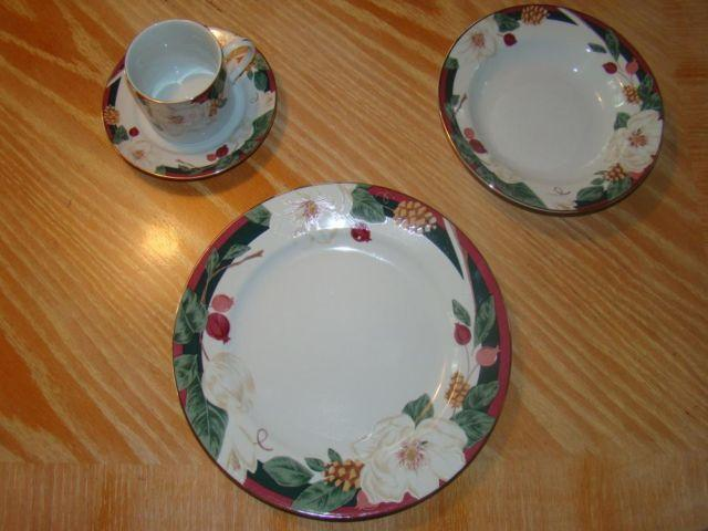 Tienshan Fine China Dinnerware Set- Magnolia Pattern & Tienshan Fine China Dinnerware Set- Magnolia Pattern for Sale in ...