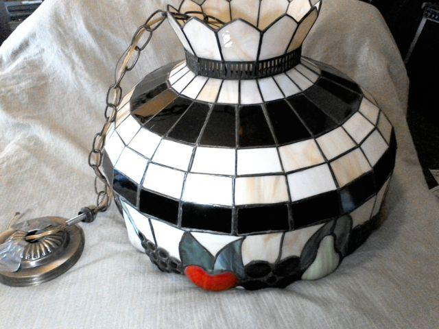 Tiffany style hanging kitchen lamp stained glass FRUIT Mint