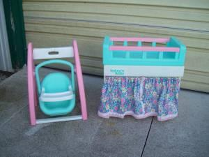 Today S Kid Doll Swing Changing Table Crib And Bathtub
