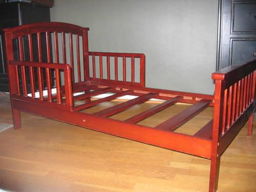 Toddler Bed Solid Wood Cherry Finish For Sale In Santa