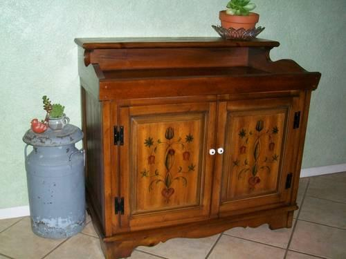 Early American Furniture Reproductions TOLE PAINTED PENNSYLVANIA DUTCH DESIGN DRY SINK CABINET/SIDEBOARD/CRED ...