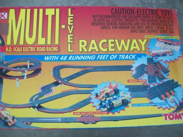 TOMY AFX MULTI LEVEL HO SLOT CAR SET USED 1 TIME TRACK MINT