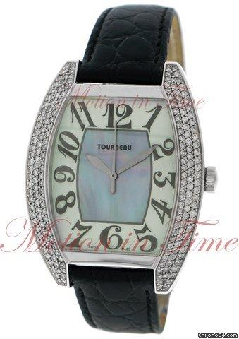 Tourneau Ladies Oval, Mother of Pearl Dial, Diamond Bezel - White Gold on  Strap