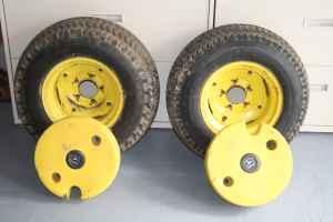 Tractor tires and weights - $125 (Clio)
