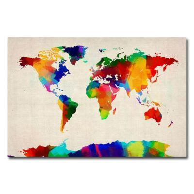 Trademark fine art 22 in x 32 in sponge painting world map canvas trademark fine art 22 in x 32 in sponge painting world map canvas art for sale in jacksonville florida gumiabroncs Image collections