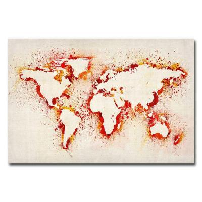 Trademark fine art 30 in x 47 in paint outline world map canvas paint outline world gumiabroncs Image collections