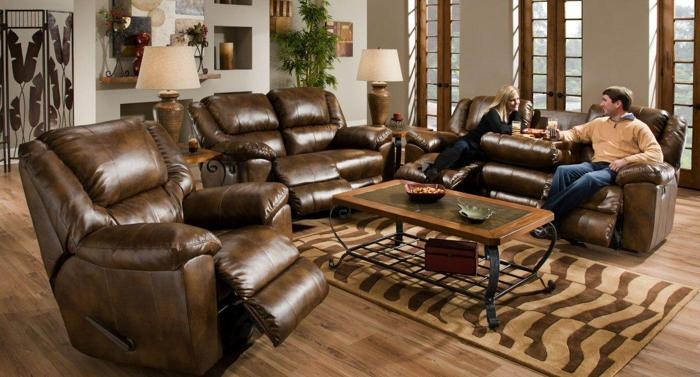 Triple Reclining Sofa With Drop Down Table New