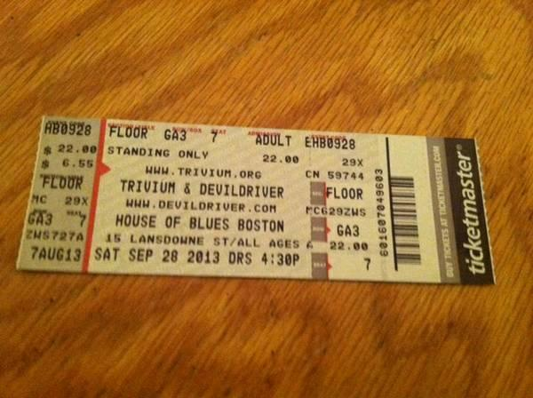 Trivium and DevilDriver!!!! House of Blues Boston. Sep