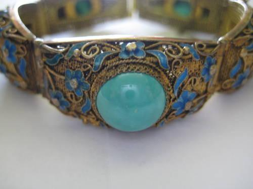 TURQUOISE AND SILVER BRACELET VINTAGE VERY NICE MUST