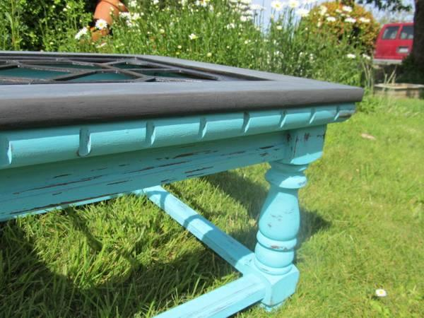 Turquoise Gray Fretwork Coffee Table 150