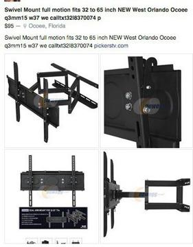 TV Swivel MOUNT motion 32 to 65 in NEW $95