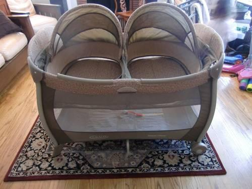 Twin Graco Pack N Play Playard With Bassinet For Sale In