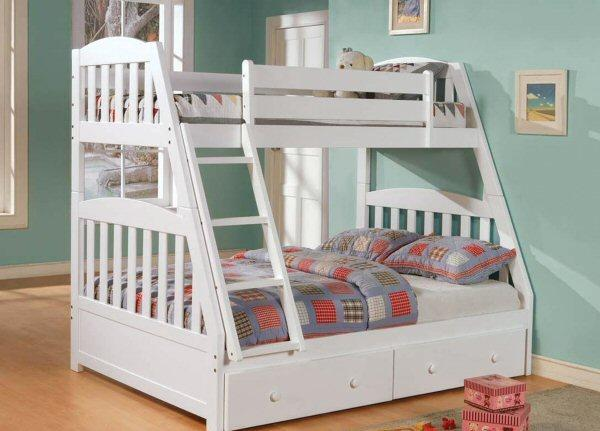 Twin over full solid wood white mission style bunk bed for Bedroom furniture sets columbus ohio
