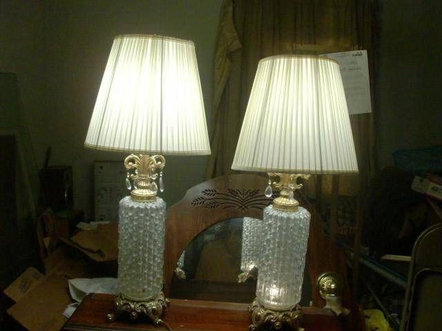 Two 1972 Ef Amp Ef Industries Inc Clear Glass Lamps For Sale