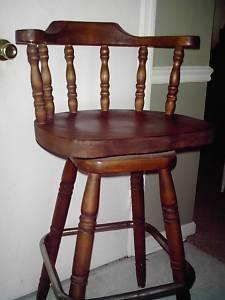 Two 30 Inch Solid Wood Bar Stools Or Pub Chairs Swivel Top High