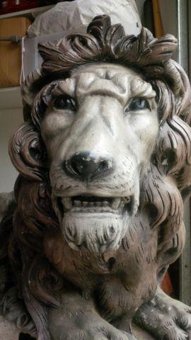 TWO life-sized stone lion entry guard sentinels statue indoor outdoors