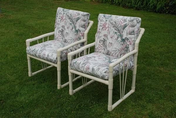 TWO PVC FURNITURE PATIO CHAIRS WITH CUSHIONS   $45