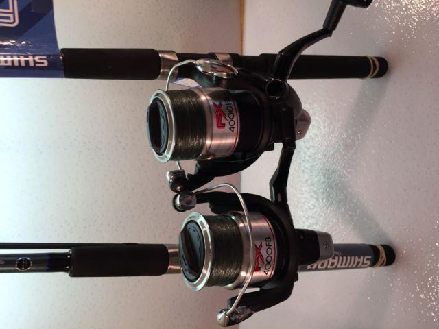 Two Shimano FXS Spinning Rod and FX4000FB Reel Combos