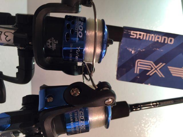Two Shimano UL Spinning Rod and 200 (3 bb) Reel Combos