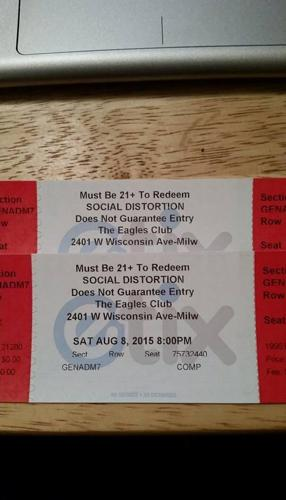 Two Social Distortion Tickets at The Rave Aug 8th