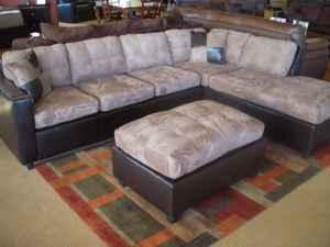 Magnificent Two Tone Sectional Sofa Couch W Ottoman Brand New Caraccident5 Cool Chair Designs And Ideas Caraccident5Info