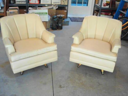 Superior Two Vintage Mid Century Modern Cream Vinyl Swivel