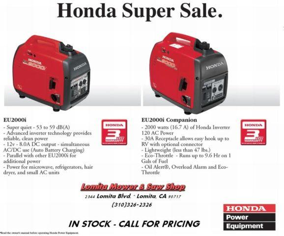 Ultra quiet Honda EU2000i Generators - ON SALE! for Sale in Lomita, California Classified ...