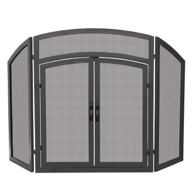UniFlame Arch Top Black Wrought Iron 3-Panel Fireplace