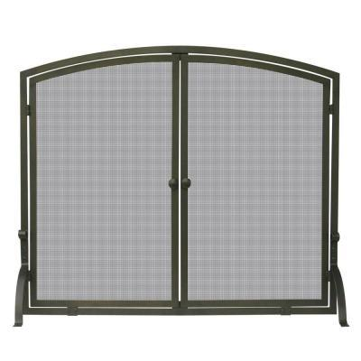 UniFlame Bronze Single-Panel Fireplace Screen with