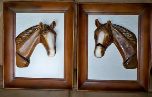 Unique Vintage Ceramic/Chaukware Framed Horse Heads