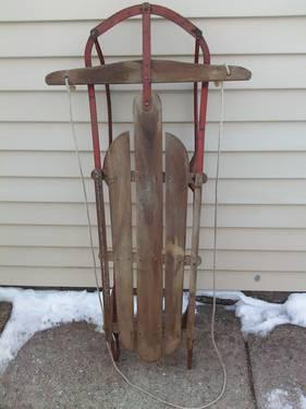 Unknown Vintage wood and steel sled 47 long 1950s NR GUC HTF