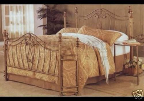 Unusual Antique Style Queen Iron Bed With Wrap Around