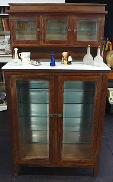 Unusual Antique Display Barber 39 S Cabinet Glass Shelves