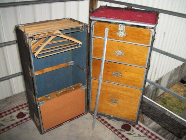 UPCYCLED HARTMANN WARDROBE TRUNK- KEY, RARE OWNERS MANUAL, 1920s
