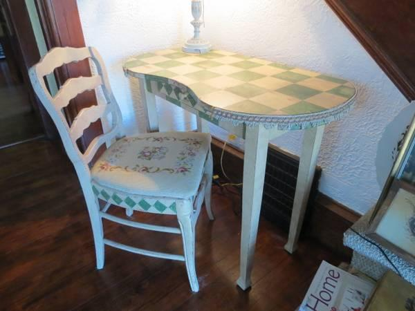 Upcycled Vintage Vanity Desk Matching Chair French Coffee