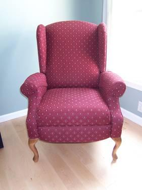 used cranberry color upholstered lane wing chair recliner for sale