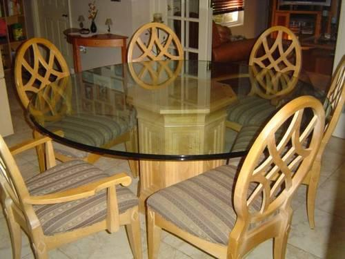 "used dining room furniture | Used Dining Room Set (round 70"" glass top w/6 chairs) for ..."