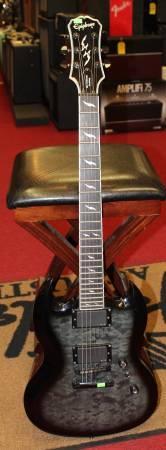 Used Epiphone SG Custom Prophecy EX EMG See Thru Black Electric Guitar - $395