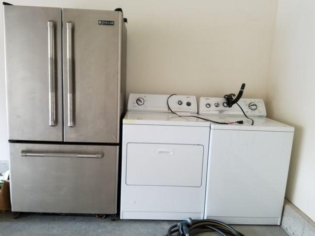 USED FULLY FUNCTIONAL WHIRLPOOL WASHER AND DRYER AND FRENCH DOOR FRIGE