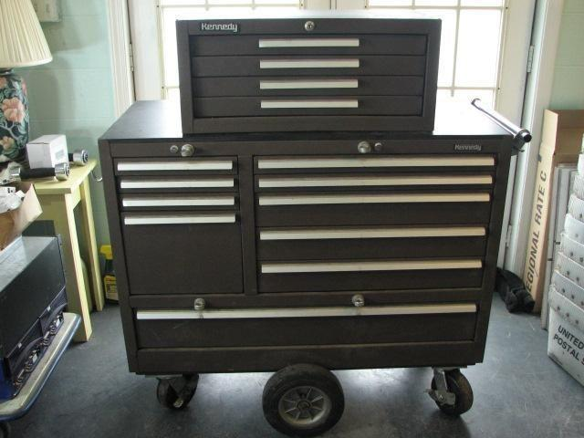 Mechanics 8 Drawer Tool Box Chest Roller Cabinet: Used Kennedy Brown Wrinkle Steel Tool Roller Cabinet And 4