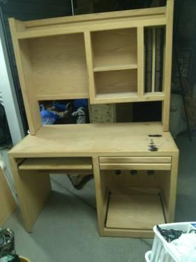 Used Oak Wood Unfinished Computer Desk Amp Top Hutch For