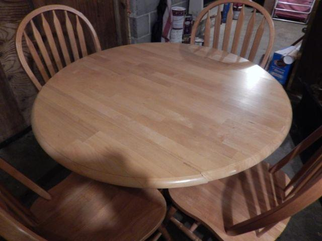 Used Solid Oak Dining Table And 4 Chairs For Sale In