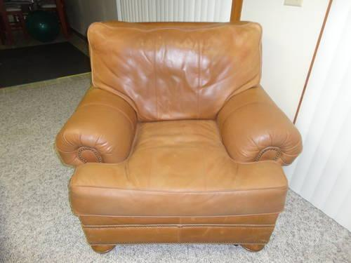 Used Top Grain Aniline Leather Overstuffed Chair W Ottoman